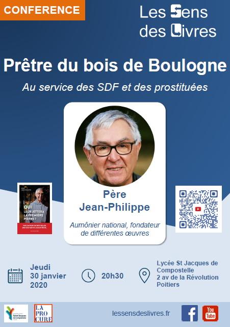 Affiche Conférence Les Sens Des Livres du 30 janvier 2020 : le prêtre du bois de Boulogne